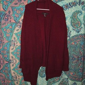 Burgundy Oversized Cardigan